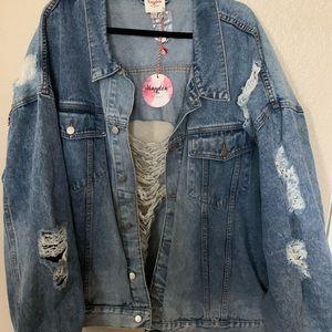 Boutique Distressed Denim Jacket, Size 2XL/3XL